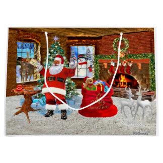 Sacola Para Presentes Grande Feliz Natal do papai noel