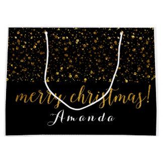 Sacola Para Presentes Grande Feliz Natal dourado do branco do preto do brilho