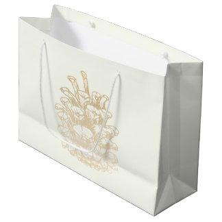 Sacola Para Presentes Grande Feliz Natal pinha j Gold