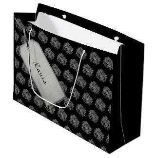 Sacola Para Presentes Grande Feliz Natal preto/design cinzento da poinsétia