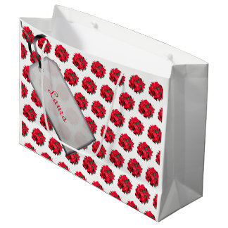 Sacola Para Presentes Grande Feliz Natal vermelho/design branco da poinsétia