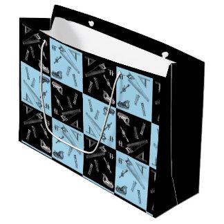 Sacola Para Presentes Grande Ferramentas da carpintaria em azulejos azuis e