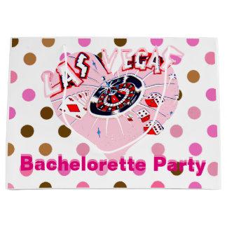 Sacola Para Presentes Grande Festa de solteira cor-de-rosa de Las Vegas