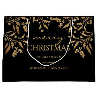 Sacola Para Presentes Grande Festão do azevinho da folha de ouro do Feliz Natal