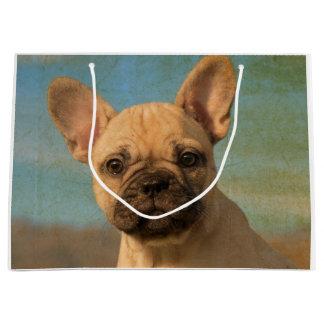 Sacola Para Presentes Grande Filhote de cachorro bonito do buldogue francês -