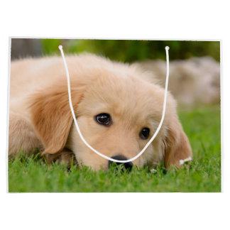 Sacola Para Presentes Grande Filhote de cachorro bonito do golden retriever que