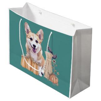 Sacola Para Presentes Grande Filhote de cachorro do Corgi de Galês do feriado