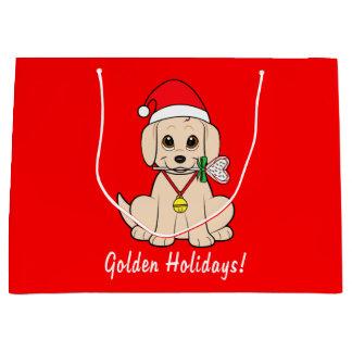 Sacola Para Presentes Grande Filhote de cachorro do golden retriever com papai