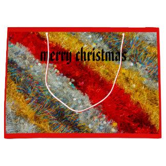 Sacola Para Presentes Grande fios cintilantes do Natal no saco do presente