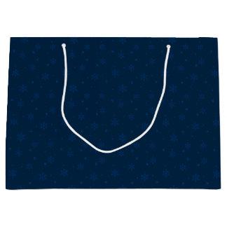 Sacola Para Presentes Grande Flocos de neve azuis da meia-noite