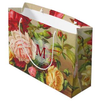 Sacola Para Presentes Grande Flores do buquê dos rosas do Victorian do vintage