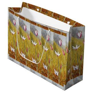 Sacola Para Presentes Grande Flores do vintage em uma paisagem Henry Newman