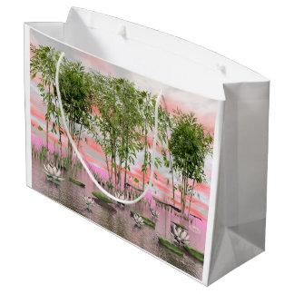 Sacola Para Presentes Grande Flores e bambus de Lotus - 3D rendem