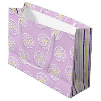 Sacola Para Presentes Grande Flores laçado & saco cor-de-rosa do presente das