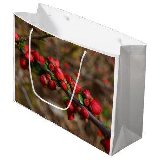 Sacola Para Presentes Grande Flores vermelhas arborizados