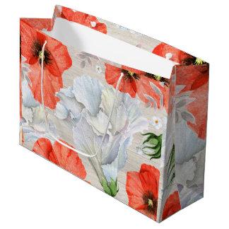 Sacola Para Presentes Grande Flores vermelhas & brancas com fundo de madeira