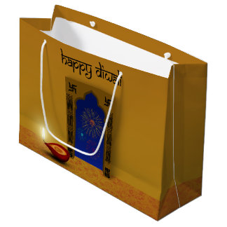 Sacola Para Presentes Grande Fogos-de-artifício felizes festivos de Diwali -