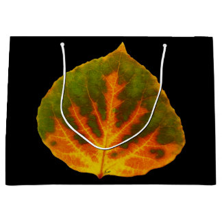 Sacola Para Presentes Grande Folha alaranjada & amarela verde #1 de Aspen
