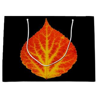 Sacola Para Presentes Grande Folha vermelha & amarela #10 de Aspen