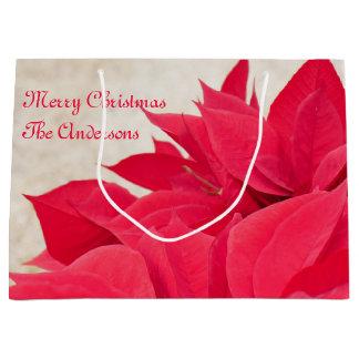 Sacola Para Presentes Grande Folha vermelha personalizada da poinsétia