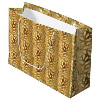 Sacola Para Presentes Grande Folhas elegantes e brilhantes do ouro