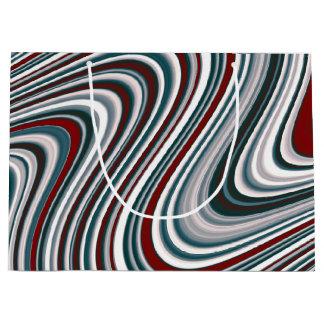 Sacola Para Presentes Grande Formas Curvy marrons do abstrato do vermelho e do