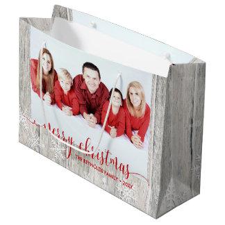Sacola Para Presentes Grande Foto de madeira rústica do Feliz Natal - grande