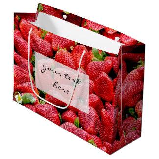 Sacola Para Presentes Grande fotografia cor-de-rosa escura deliciosa das