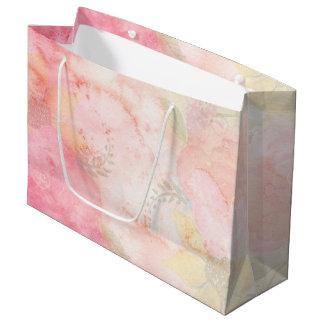 Sacola Para Presentes Grande Fundo floral cor-de-rosa da aguarela