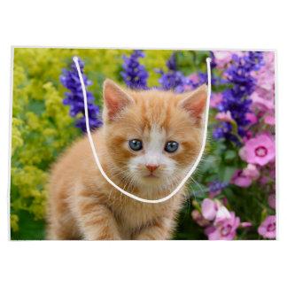 Sacola Para Presentes Grande Gatinho macio bonito do gato do bebê do gengibre