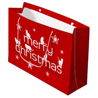 Sacola Para Presentes Grande Gato do Feliz Natal