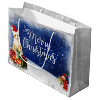 Sacola Para Presentes Grande Gato no Feliz Natal do chapéu do papai noel