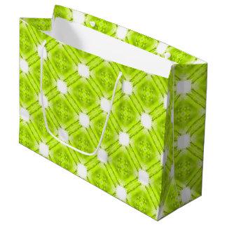 Sacola Para Presentes Grande Geométrico verde e branco do quivi