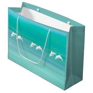 Sacola Para Presentes Grande Golfinhos brincalhão e felizes no oceano de