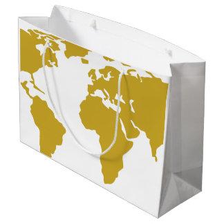 Sacola Para Presentes Grande Grande saco do presente - mapa do mundo do ouro