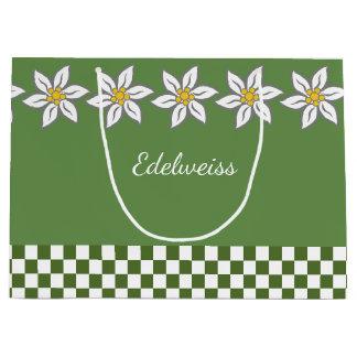 Sacola Para Presentes Grande Grande saco verde do presente de Edelweiss