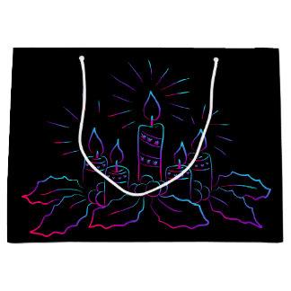 Sacola Para Presentes Grande Grinalda elegante do Natal e velas do preto do