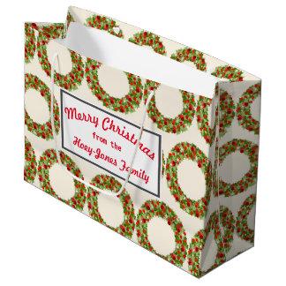 Sacola Para Presentes Grande grinaldas do Natal do Retro-estilo
