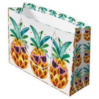 Sacola Para Presentes Grande Ilustração das aguarelas do abacaxi do verão