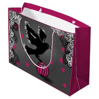 Sacola Para Presentes Grande ilustração do Dia das Bruxas de um corvo e de uma