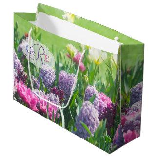 Sacola Para Presentes Grande Jacinto bonito das tulipas do jardim do primavera