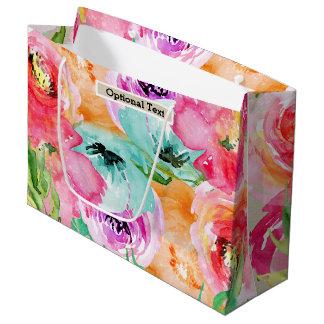 Sacola Para Presentes Grande Kraft botânico rústico moderno floral colorido