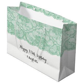 Sacola Para Presentes Grande Laço floral do verde nupcial da hortelã do