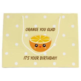 Sacola Para Presentes Grande Laranja você contente ele é seu aniversário Kawaii