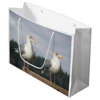 Sacola Para Presentes Grande Levantando a foto das gaivotas