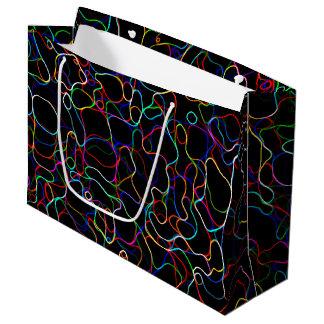 Sacola Para Presentes Grande Linhas multicoloridos de néon