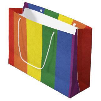 Sacola Para Presentes Grande Listras do arco-íris
