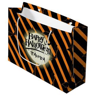 Sacola Para Presentes Grande Listras e bastões de Hallowen
