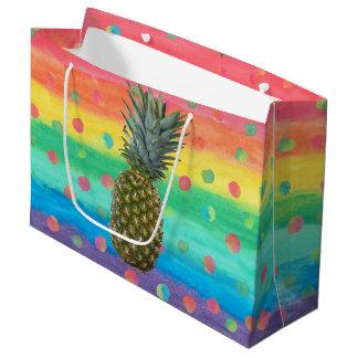 Sacola Para Presentes Grande Listras e pontos modernos da aguarela do abacaxi