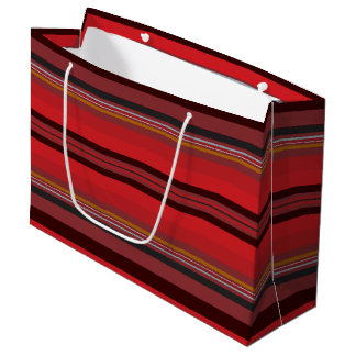Sacola Para Presentes Grande Listras - horizonte vermelho
